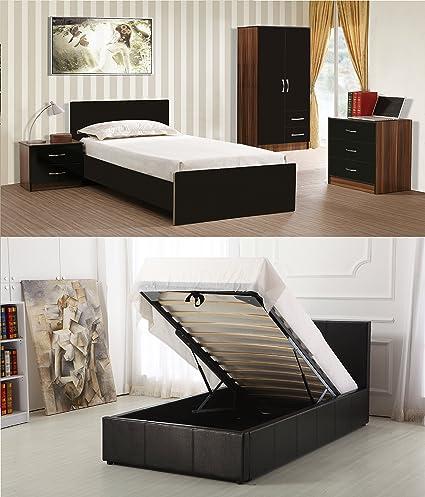 Marina 4 Piece Bedroom Set consisting of 2 Door 2 Drawer Combi Wardrobe - 3 Drawer Chest - 2 Drawer Bedside - Faux Leather Ottoman Storage Bed (Black & Walnut (Black Bed)