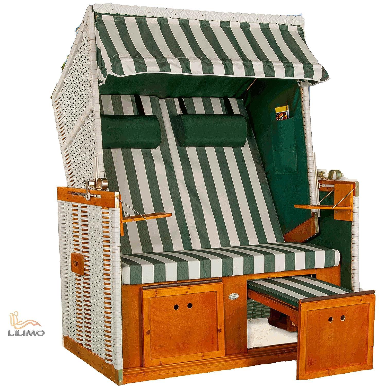 Strandkorb Nordsee Deluxe GNE grün-weiss, Geflecht weiß, LILIMO ® günstig online kaufen