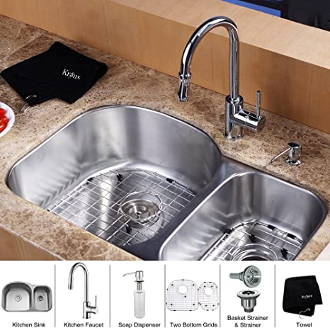 Kraus KBU23-KPF1622-KSD30CH 32 inch Undermount Double Bowl Stainless Steel Kitchen Sink with Chrome Kitchen Faucet and Soap Dispenser