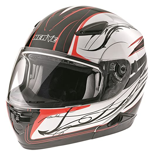NERVE 1519030701_02 NH5008 Casque Modulable, Noir/Rouge, Taille : S