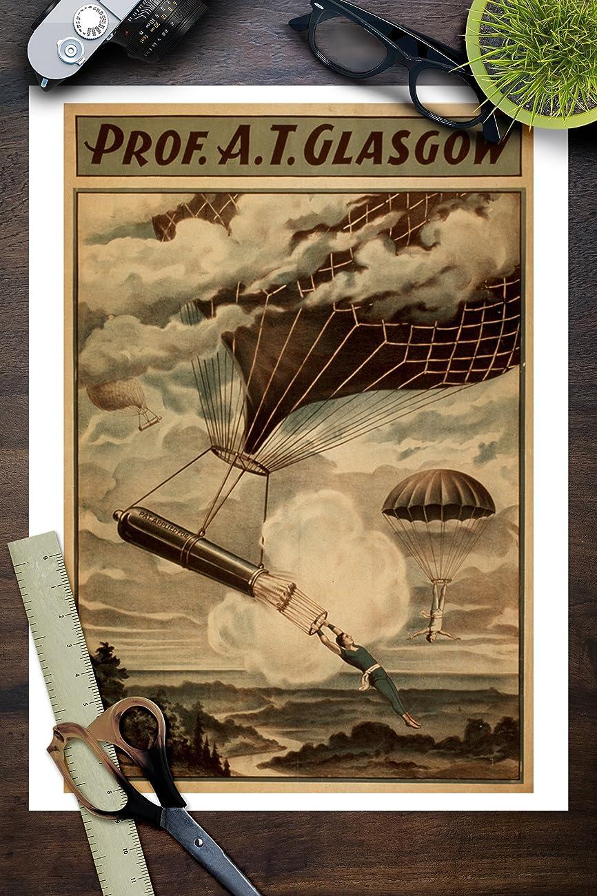 Glasgow Hot Air Balloon Circus Theatre Poster (9x12 Art Print, Wall Decor Travel Poster) 2