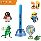 3D Pen, 3D Printing Pen with Low Temp Safety Holder LCD Screen 3D Printer Pen for Kids Adults 3D Doodler Pen for 3D Arts Crafts Drawing and Doodling Pencil with Free 3D PLA/PCL Pen Refill-Metal Blue (Color: 3d Pen-blue)