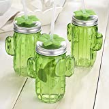Set of 8 Green Cactus Shape Glass Sipper With Metal Lids & Plastic Straws (13.5 Oz) (Color: Green, Tamaño: 13.5 Ounce)