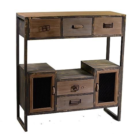 Consola aparador 3+2 cajones pequeños y 2 puertas en madera estilo industrial de 89x34x97