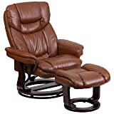 Flash Furniture Contemporary Brown Vintage Leather Recliner and Ottoman with Swiveling Mahogany Wood Base (Color: Brown Vintage, Tamaño: 44.5