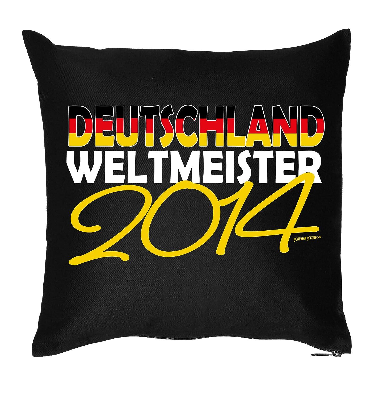 Cooler Fußball Fanartikel / Fussball Kissen : Deutschland Weltmeister / Kissen mit Füllung Farbe: schwarz