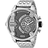 Diesel SBA Dual Time Zone Stainless Steel Men's Watch - DZ7259 (Color: Silver)