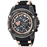 Invicta Men's 'Marvel' Quartz Stainless Steel and Silicone Watch, Color:Black (Model: 26769) (Color: Black/Rose Gold)