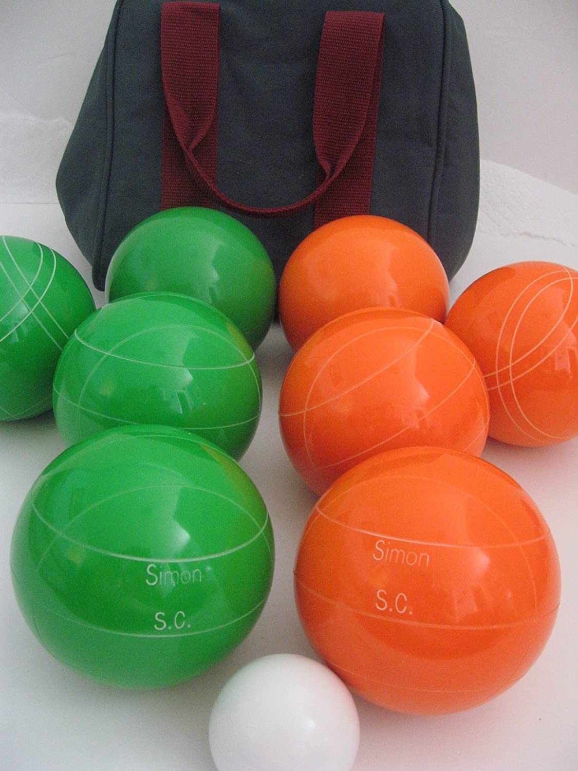 Premium Quality Engraved EPCO Bocce package - 107mm EPCO Green and Orange bal...