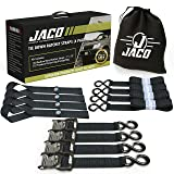 JACO Ratchet Tie Down Straps - Heavy Duty Set | AAR Certified Break Strength (5,208 lbs) | with (4) Utility Cargo Ratchet Straps - 1.6 in x 8 ft, (4) Soft Loop Tie Downs, and Accessories (Color: Black, Tamaño: 1.6 in x 8 ft)