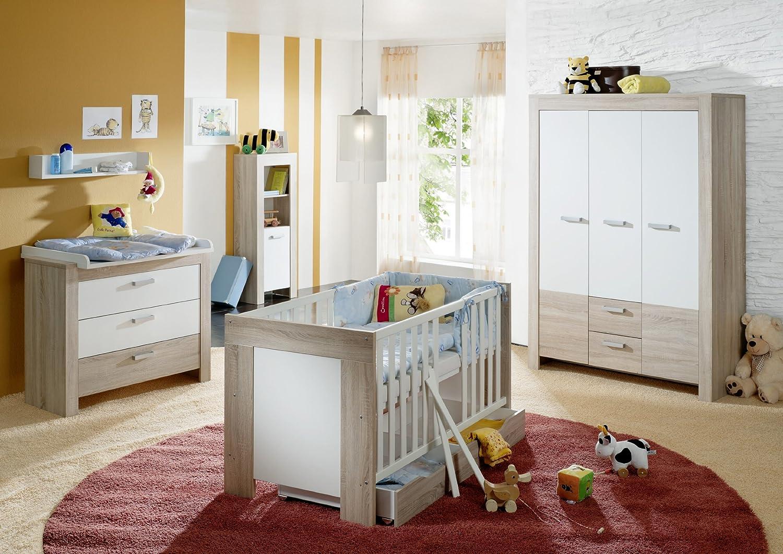 Babyzimmer mit Bett 70 x 140 cm Eiche sägerau/ weiss matt