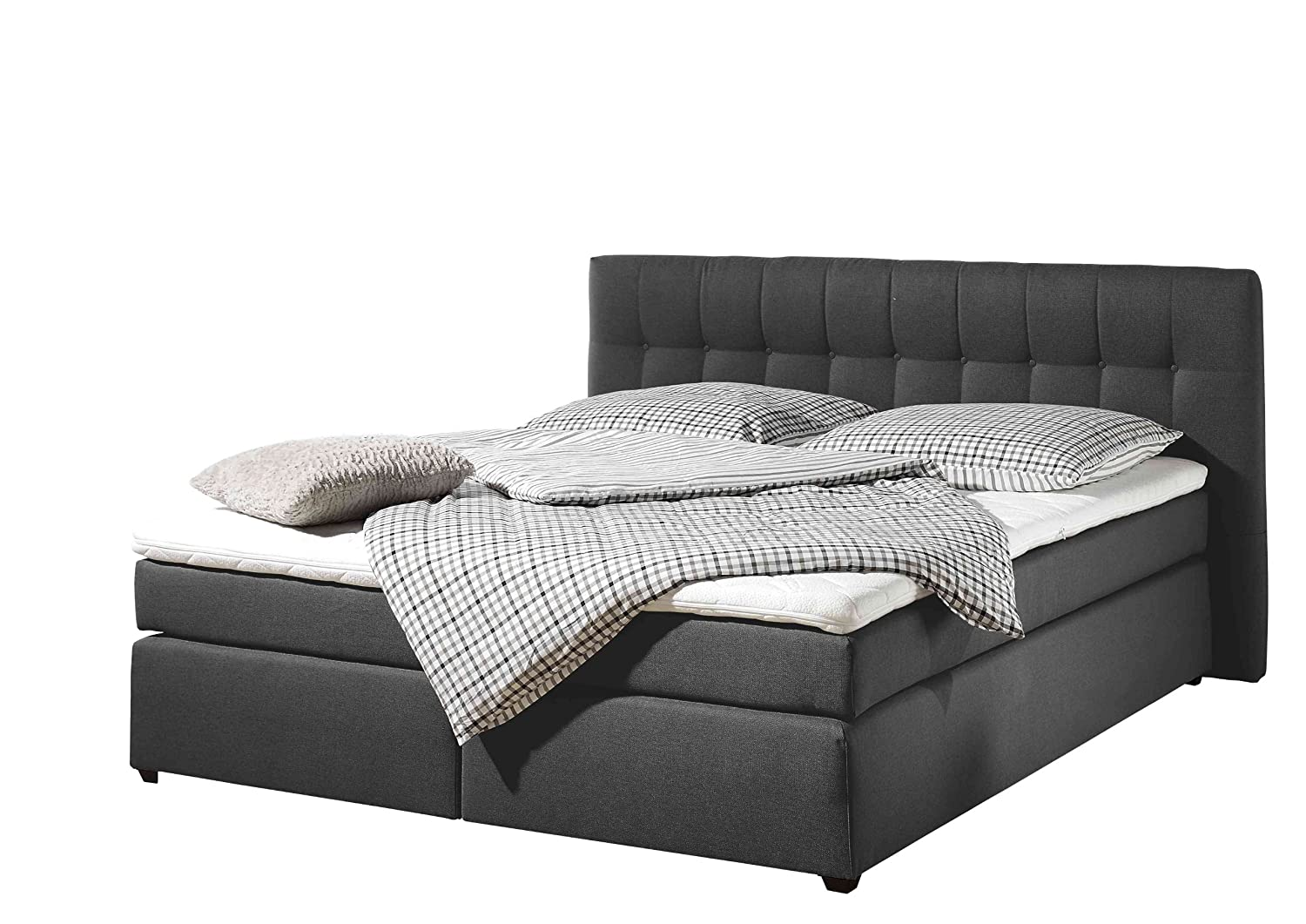 Maintal Betten 236107-3147 Boxspringbett Jeremy 180 x 200 cm inklusive Topper, anthrazit