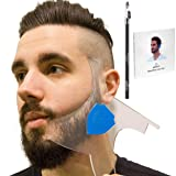 Aberlite Beard Shaper Kit w/Barber Pencil - Premium Shaping Tool - 100% Clear | Many Styles | Long Edges | - The Ultimate Beard/hair Lineup Tool (US Patent) - Beard Stencil Guide Template Outliner (Color: Blue)