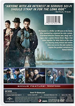 Back of DVD of The Expanse with characters Avasarala, Miller and Holden pictured