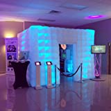 Stagerbooth Inflatable Portable Photo Booth Enclosure with 16 Colors LED Changing Lights and Inner Air Blower for Weddings Parties Promotions Advertising (One door) (Color: white, Tamaño: One door)