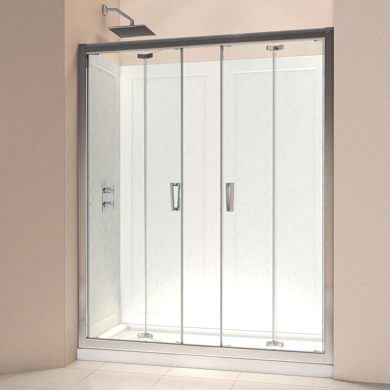 DreamLine DL-6211L-01CL Butterfly Frameless Bi-Fold Shower Door and SlimLine 34-Inch by 60-Inch Single Threshold Shower Base Left Hand Drain