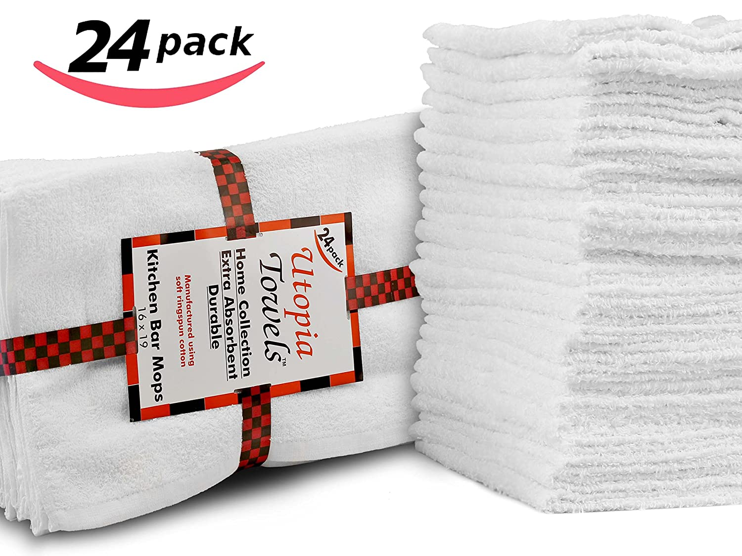 "Restaurant-Kitchen-Hotel Bar Mop Cleaning Towels - 24 Pack, White Cotton, Professional Grade (16"" x 19"") by Utopia Kitchen"