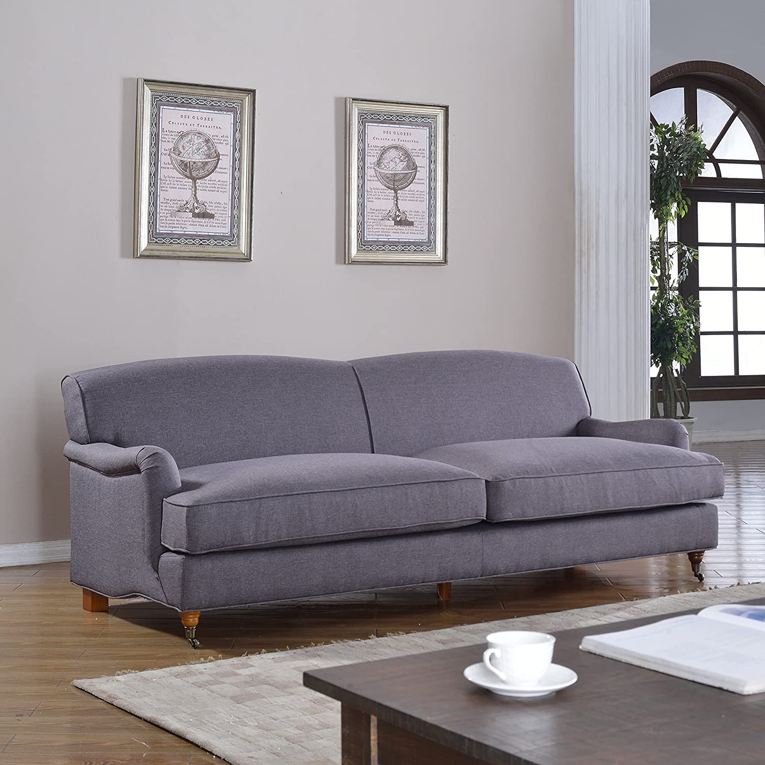 Mid Century Grey Classic and Traditional Large Linen Fabric Sofa with Casters (Light Grey)