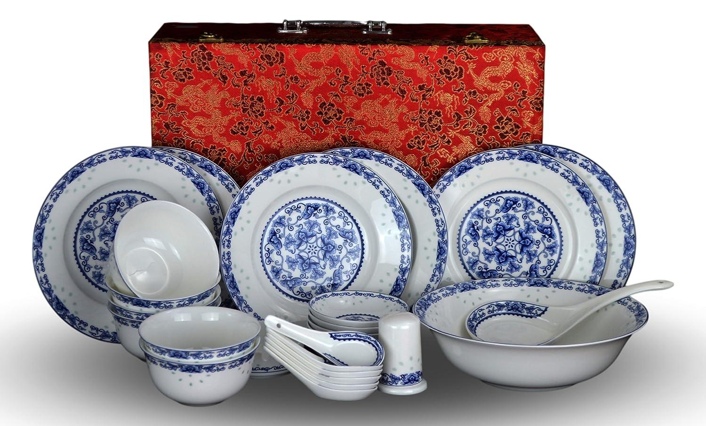 28-piece Bone China Blue and White Dinnerware Set, Service for 6, Rice Bowl Set, Jingdezhen, (blue lotus)