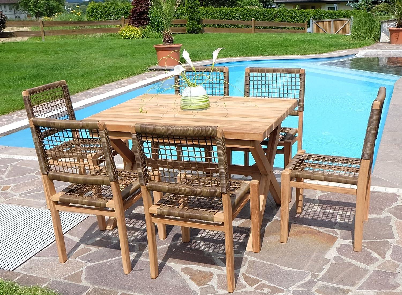 Rustikale Super Edle TEAK Gartengarnitur Gartenset Gartenmöbel TISCH + 6 Sessel 'RIO' Holz geölt von AS-S jetzt bestellen
