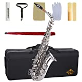 Kaizer Alto Saxophone E Flat Eb Nickel Silver 1000 Series Sax Includes Case Mouthpiece and Accessories ASAX-1000NK (Color: Nickel)