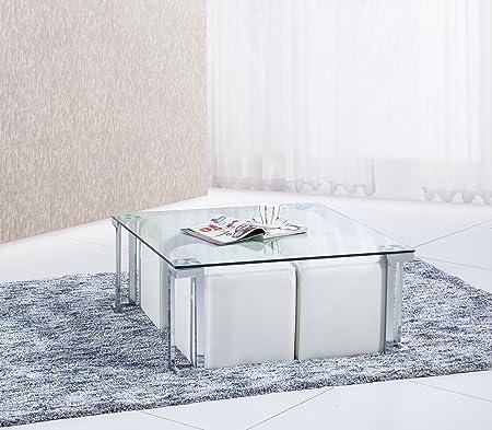 Mesa o mesita de centro cuadrada 90x90cm con cristal templado translúcido de salón comedor.