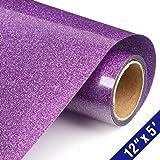 Glitter Heat Transfer Vinyl HTV Rolls 12in.x5ft, Iron on HTV Vinyl Compatible with Silhouette Cameo & Cricut by TransWonder (Purple) (Color: purple, Tamaño: 12