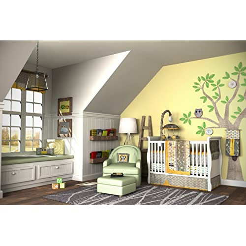 DK Leigh Owl 10 Piece Gender Neutral Crib Bedding Set Yellow/Green