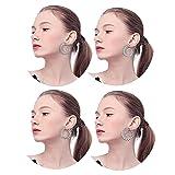 Thunaraz 4Pairs Spiral Hoop Earrings Set Bohemian Vintage Tribal Swirl Earrings For Women Girl Silver-tone