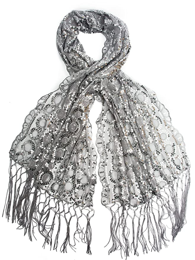 1920s Style Wraps Fringe Sequin Evening Wrap  AT vintagedancer.com