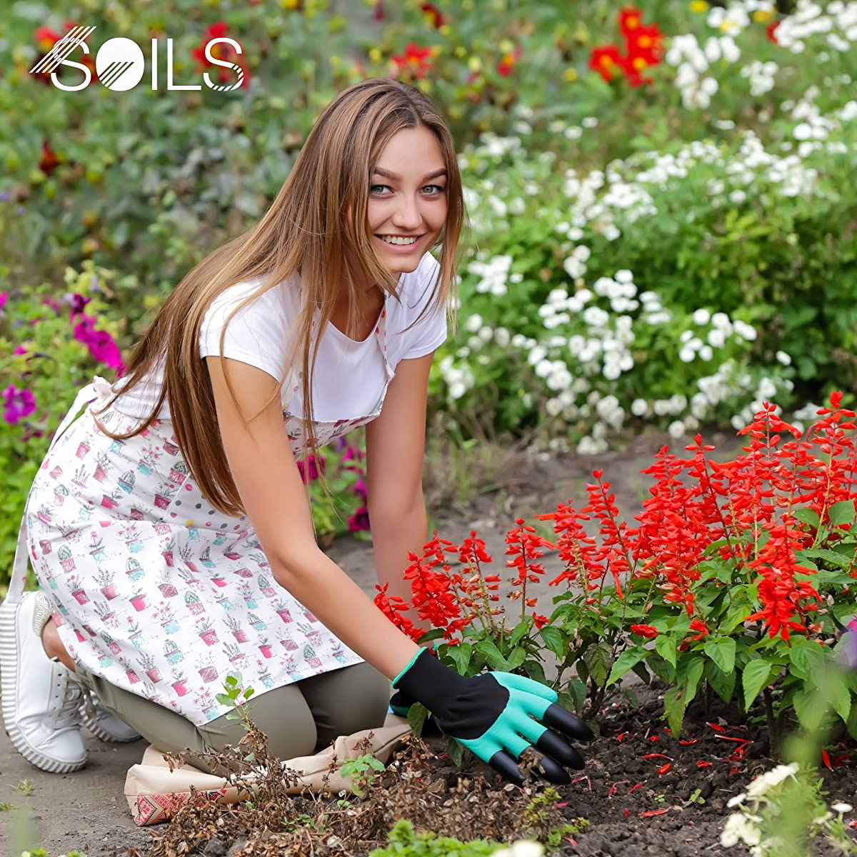 SOILS premium garden genie gloves made of natural latex rubber with right hand fingertip claws for digging, raking and hands protection