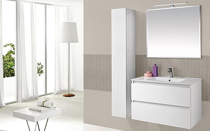 Dafnedesign.com - Mobile da bagno con cassettoni, specchio e colonnina con sportello - Componibile bagno 2 cassetti con lavabo in ceramica cm. 81 x 46 x 53h - sospesa Bianco Larice - 100% made in Italy