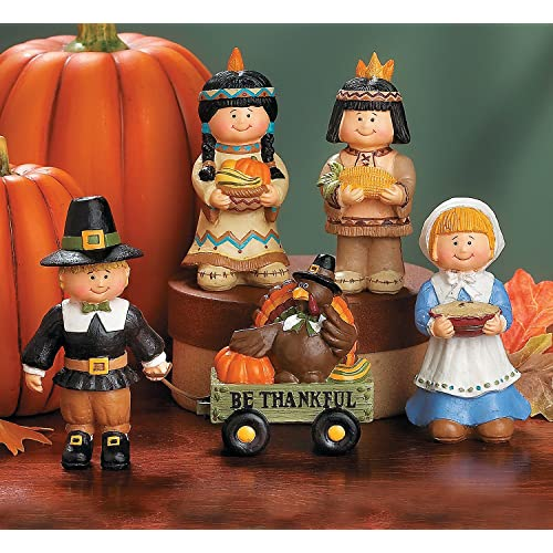 5 Pc Thanksgiving Set Pilgrims & Native Americans Fall Table Top Decoration
