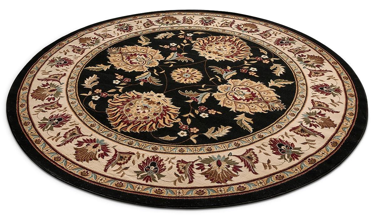 Sultan Sarouk Black Oriental 5 Round 53 Area Rug Persian Floral Formal Traditional