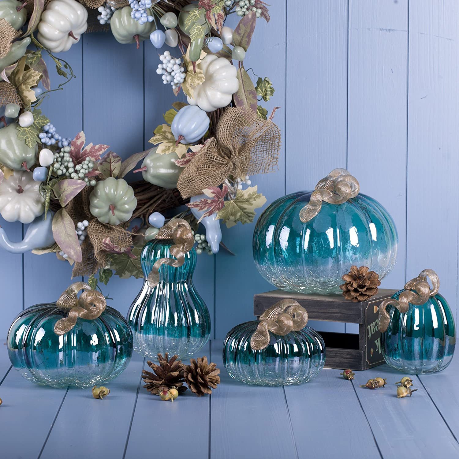 Glitzhome Turquoise Crackle Glass Pumpkin