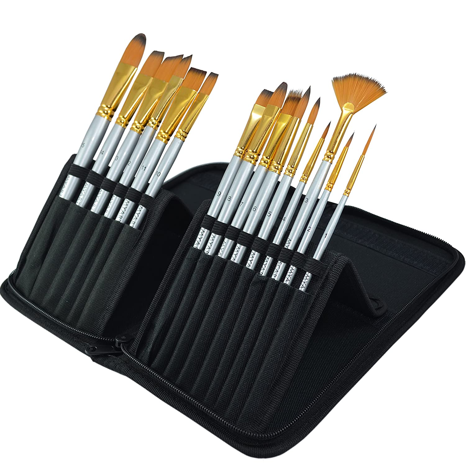 MyArtscape 15 Synthetic Short Handle Paint Brushes