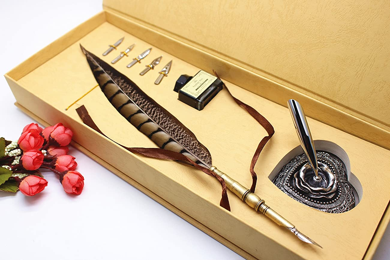 Calligraphy Set - Antique Copper Feather Pen Metal Nib Pen Writing Quill 0