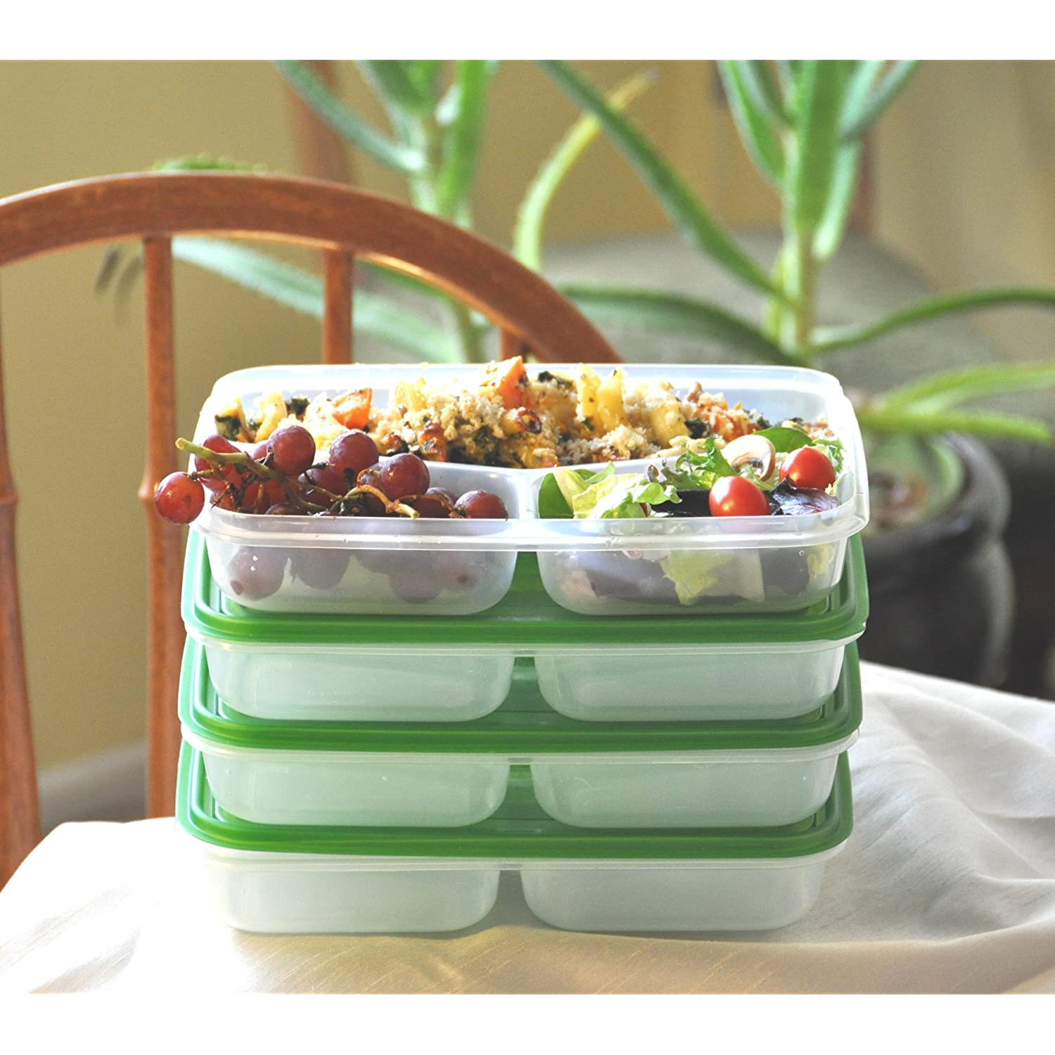 Lunch Box for Work 3 Compartment Containers Set of 4 Easy Open Lids
