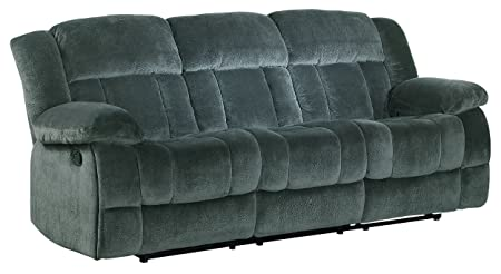 Homelegance 9636CC-3 Laurelton Textured Plush Microfiber Motion Reclining Sofa, Gray