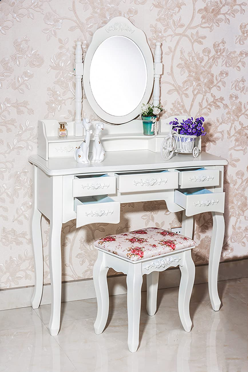 Beautiful White Label Cleopatra Vintage Vanity Table (7 Drawer) 1