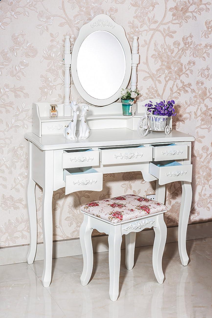 Beautiful White Label Cleopatra Vintage Vanity Table (7 Drawer) 1