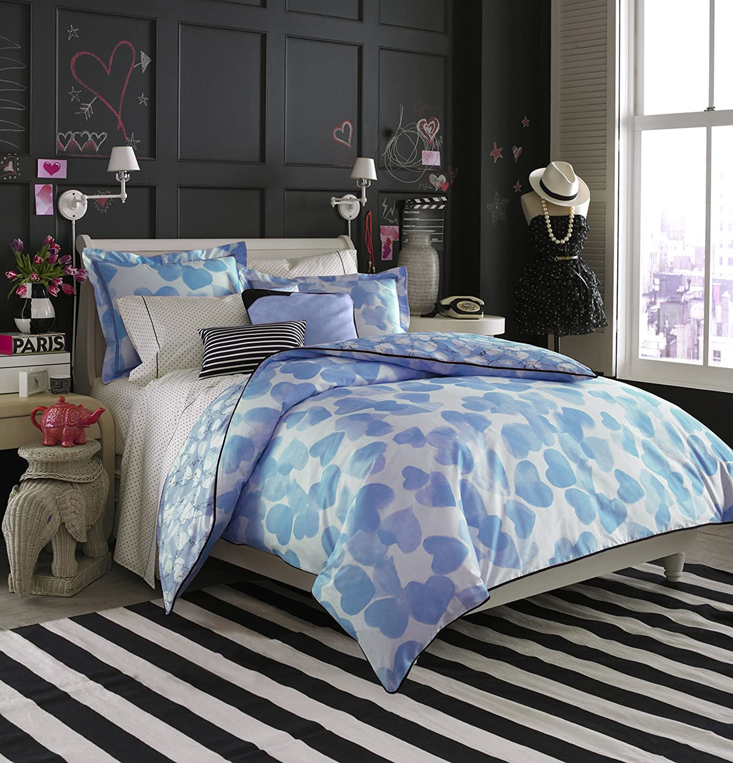 blue heart comforter set teen vogue
