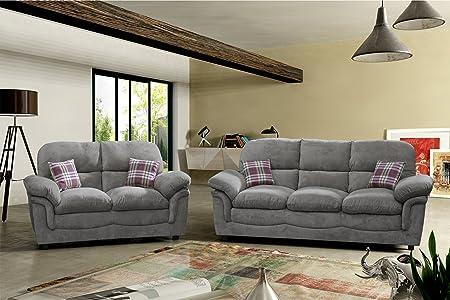Lovesofas Verona Jumbo 321varianti di tessuto divani–grigio chiaro e scuro (3+ 2, grigio scuro)
