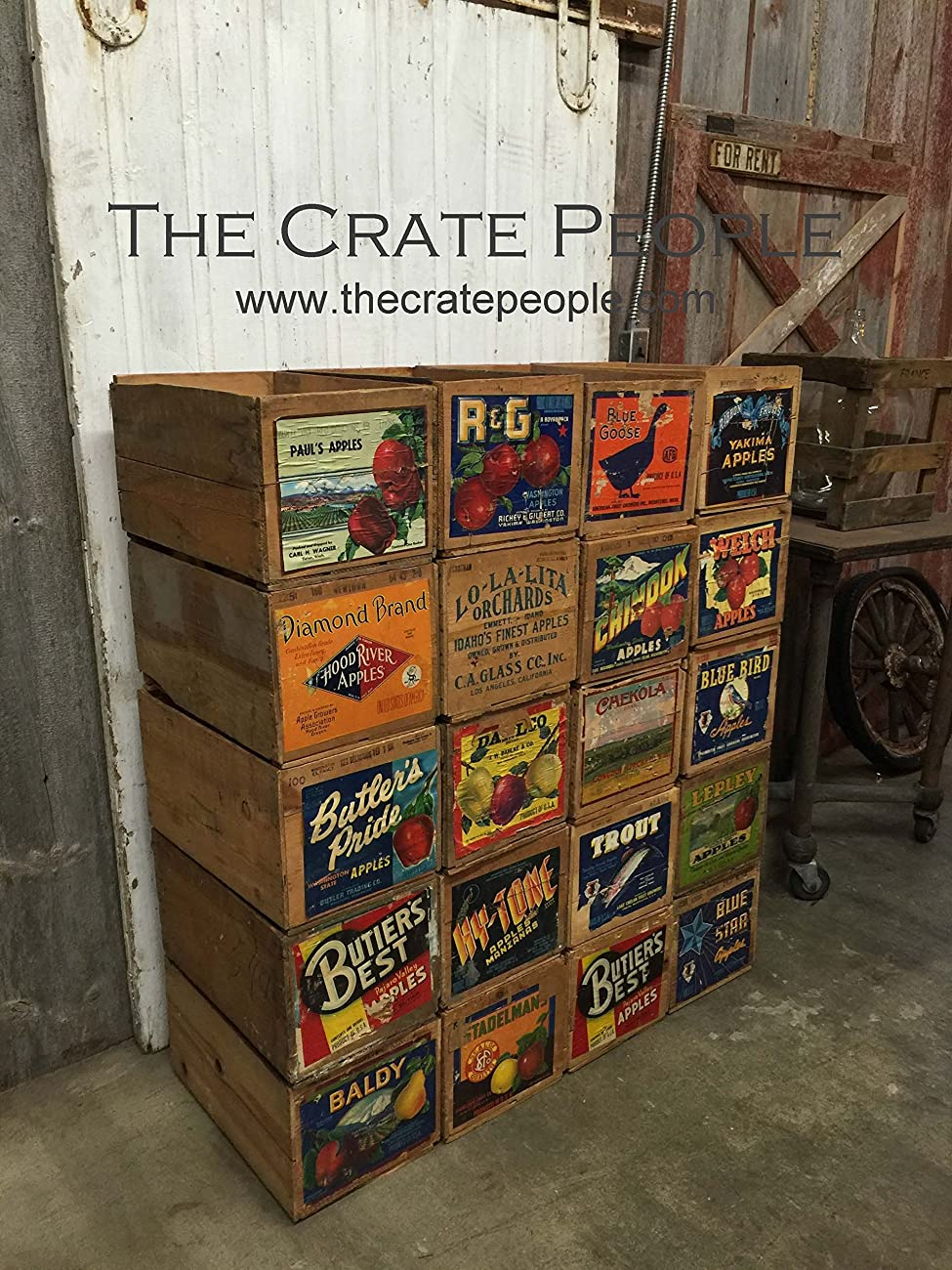 Vintage Wood Apple Crates circa 1940's - 50's - Colorful Old Labels HUNDREDS in stock	 1