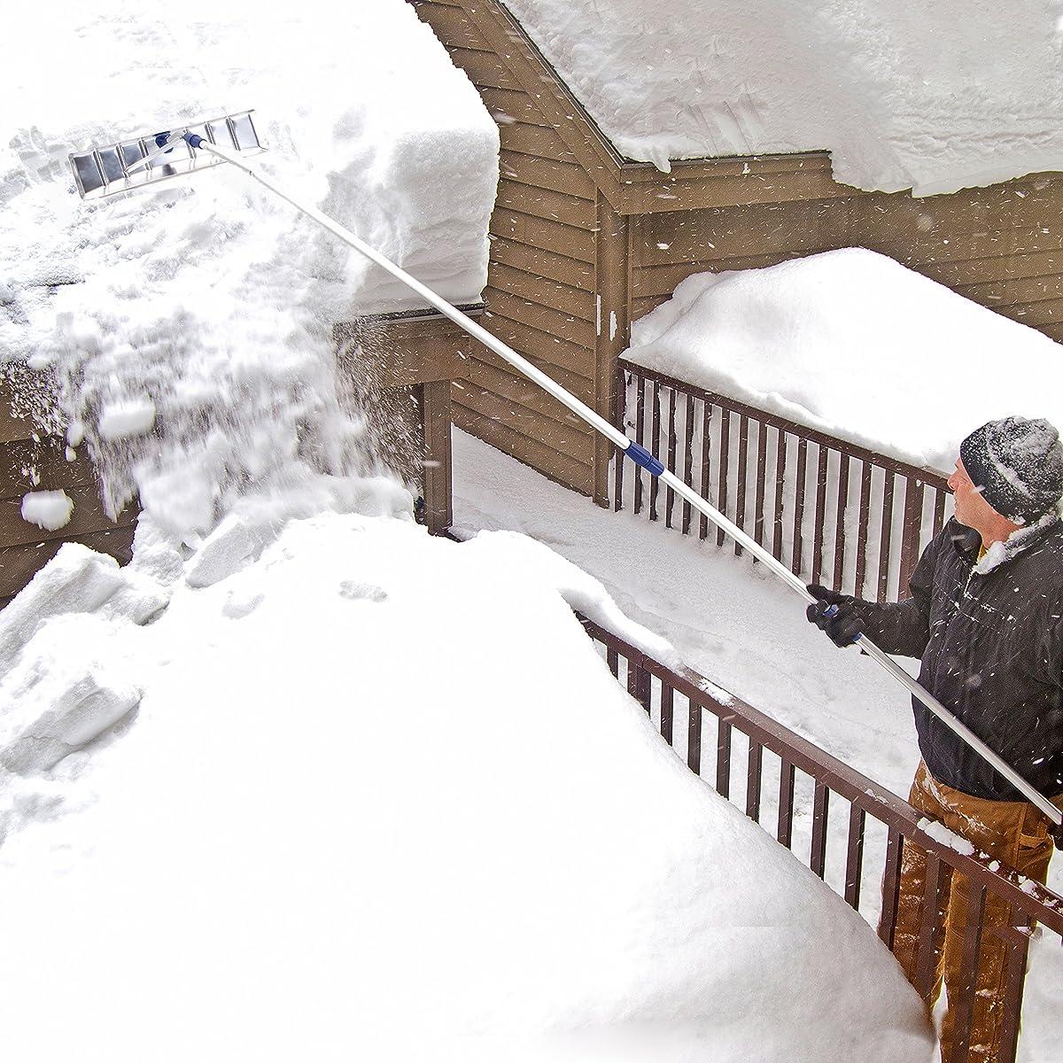 Snow Joe RJ205M Twist-N-Lock Telescoping Snow Shovel Aluminum Roof Rake, 21