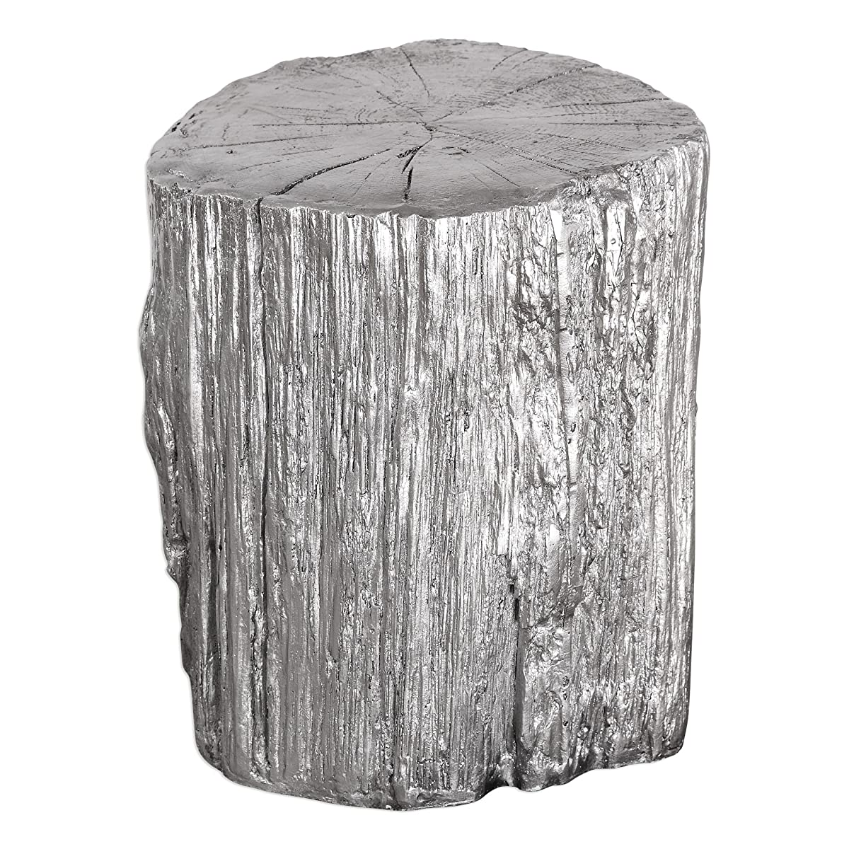 Elegant Silver Tree Stump Accent Table | Pedestal Round Faux Bois Trunk Naturalist