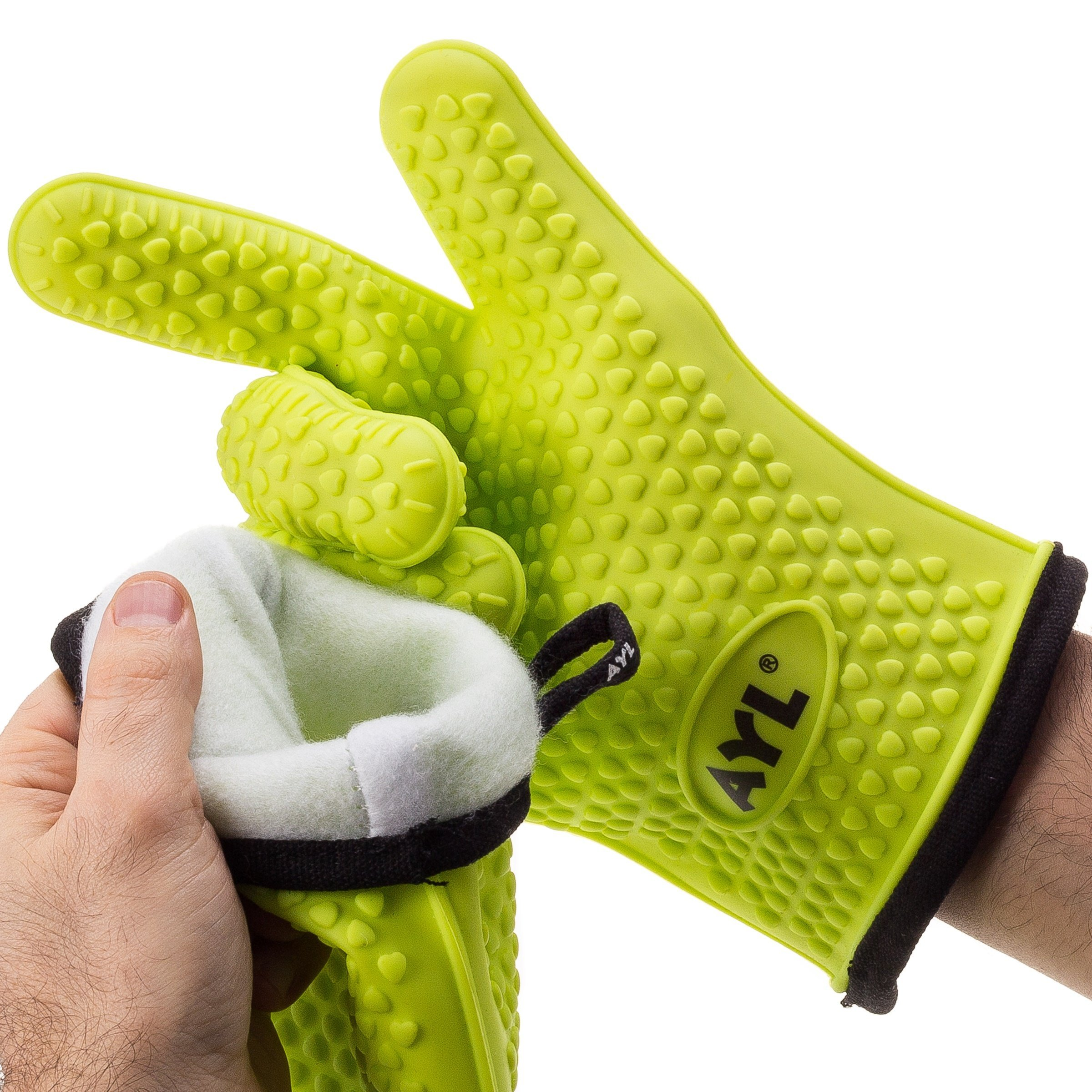 Ayl Silicone Cooking Gloves Heat Resistant Oven Mitt For