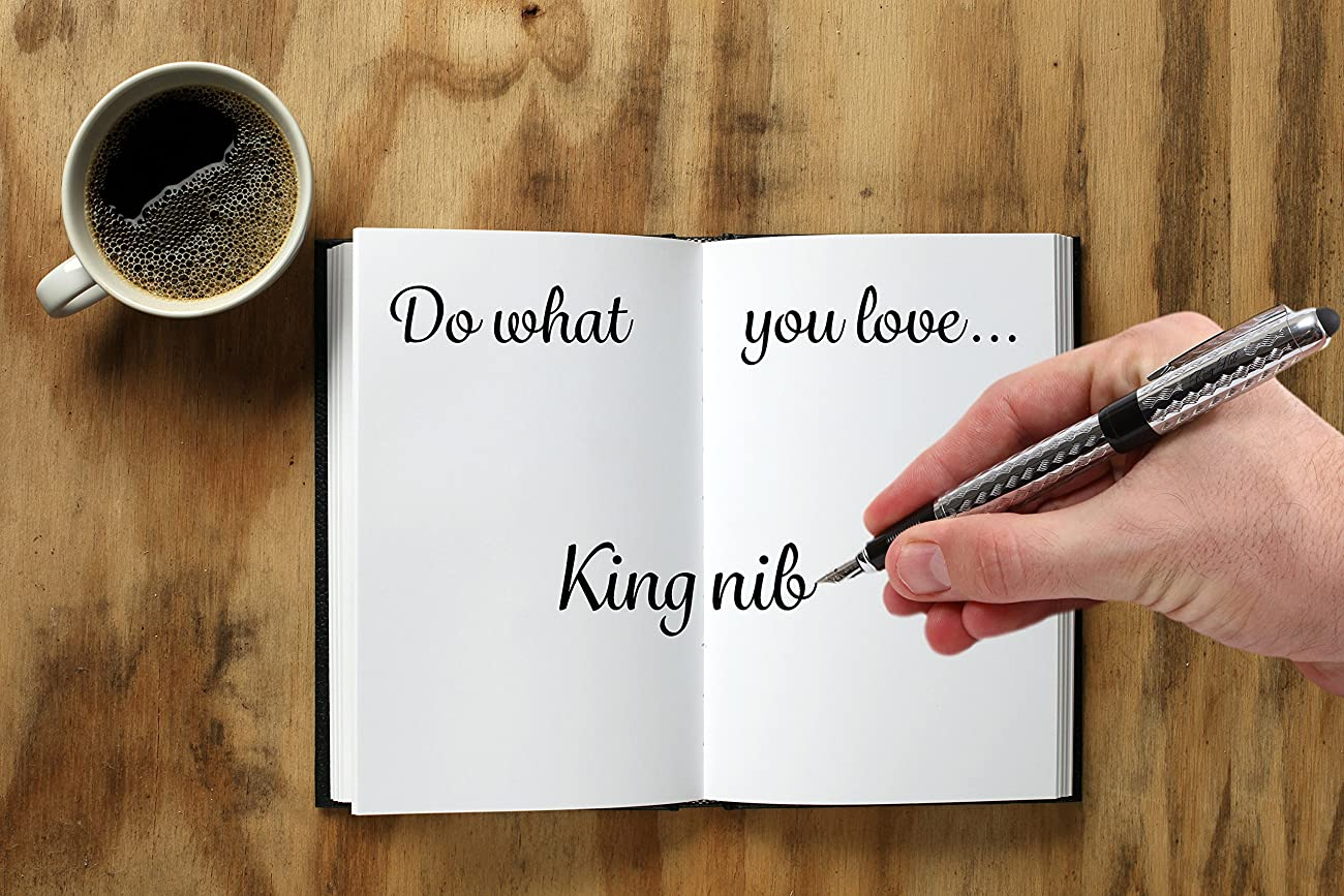 Fountain Pen Set by King Nib: 1 Pen, 2 Nibs, and 20 Ink Cartridges for Smooth, Resilient Writing, Broad and Broad Calligraphy, Unisex Metal Calligraphic Pen with Cap Plus Unique Stylus and Gift Case 4