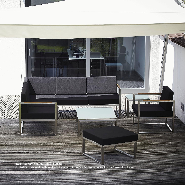 Lux Lounge Sofa 2-Sitzer Armlehne links / schwarz