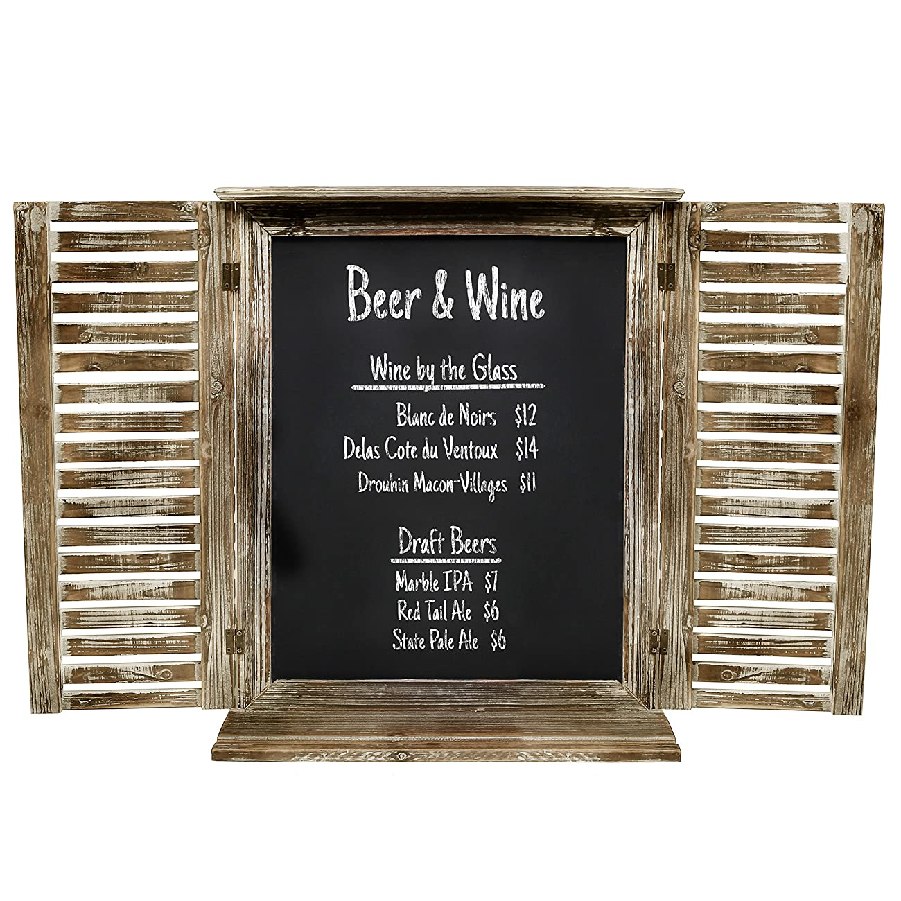 MyGift Rustic Standing Chalkboard with Folding Shutter Doors, Torched Wood Finish 1